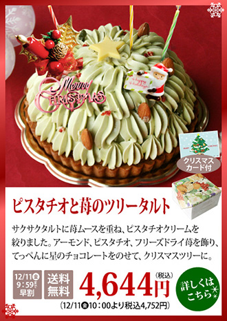 クリスマスケーキ ピスタチオ 苺 ツリー ケーキ 早割 送料無料
