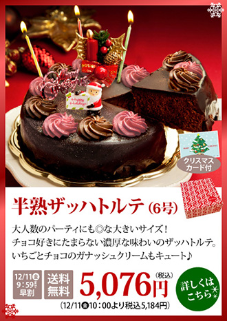 クリスマスケーキ チョコレートケーキ 半熟ザッハトルテ 早割 送料無料 ポイント20倍
